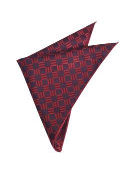 Red & Black Check Diamonds Pocket Square
