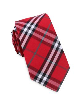 Red & White Tartan Slim Tie