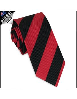 Mens Red & Black Stripes Skinny Tie