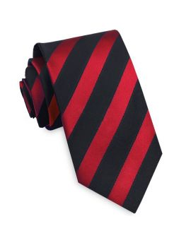 Red and Black Stripes Mens Tie