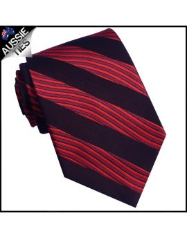Red and Black Waves Mens Necktie