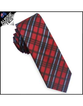 Red & Light Blue Tartan Plaid Skinny Tie