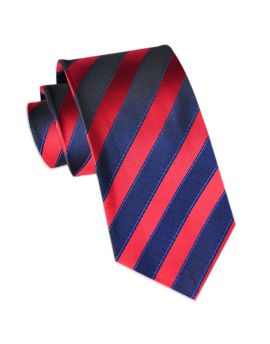 Navy Blue and Red Stripes Mens Tie
