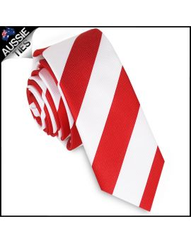 Mens Red & White Stripes Skinny Tie