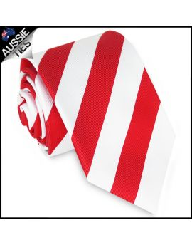 Mens Red & White Stripes Sports Tie
