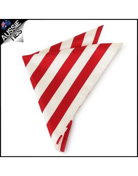 Mens Red & White Striped Pocket Square Handkerchief