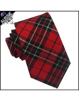 Red, Black & Gold Tartan Mens 8cm Tie