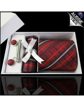 Red, Black and White Plaid Tie Set