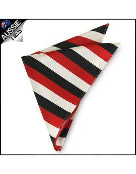 Mens Cherry Red, Black & White Striped Pocket Square Handkerchief