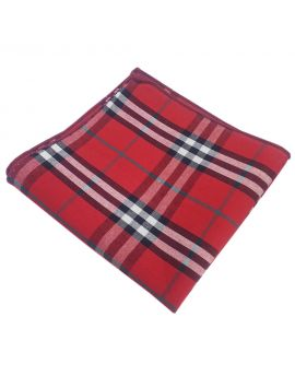 red black and white tartan pocket square
