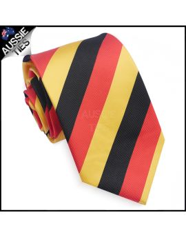 Mens Red, Black & Yellow Stripes Sports Tie