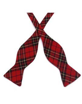 Red, Black & Gold Tartan Self Tie Bow Tie