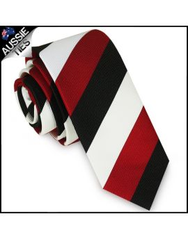 Mens Scarlet Red, Black & White Stripes Skinny Tie