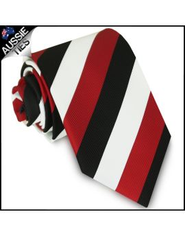 Boys Cherry Red, Black & White Stripes Sports Tie