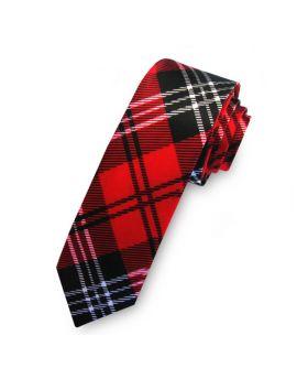 Red, Black & White Tartan Men's Skinny Tie