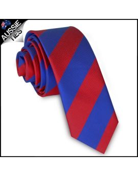 Mens Red & Blue Stripes Skinny Tie
