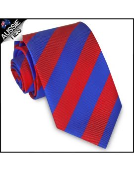 Mens Red & Blue Stripes Sports Tie