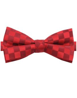 Red & Dark Red Check Bow Tie