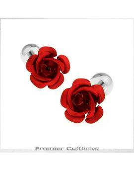 Red Floral Stud Cufflinks
