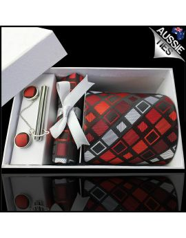 Red & Grey Retro Squares Tie Set