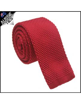 Mens Scarlet Red Knitted Tie