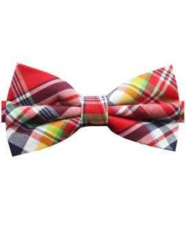 Red, Maroon, Yellow & Green Tartan Bow Tie