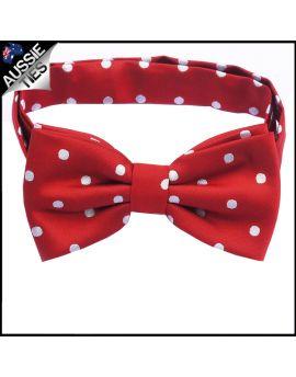 Scarlet Red Polka Dot Mens Bow Tie