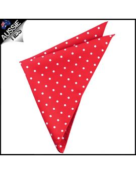 Scarlet Red Polka Dot Pocket Square Handkerchief