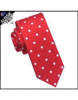 Scarlet Red Polka Dot Mens Skinny Necktie