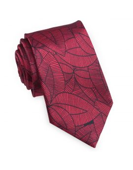 red with black geometric leaves tie