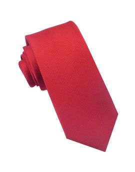Red Ribbed 6cm Mens Slim Tie