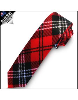 Red Black & White Tartan Men's Skinny Tie