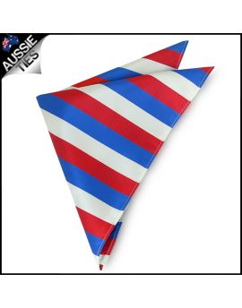 Mens Red, White & Blue Striped Pocket Square Handkerchief