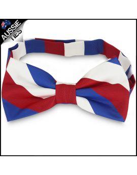 Mens Red, White & Blue Stripes Bow Tie