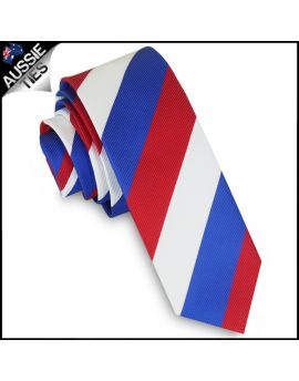 Mens Red, White & Blue Stripes Skinny Tie