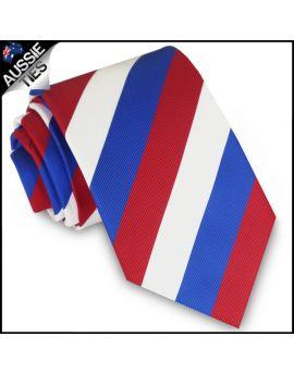 Boys Red, White & Blue Stripes Sports Tie