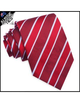 Red & White Zig Zag Stripes Mens Necktie