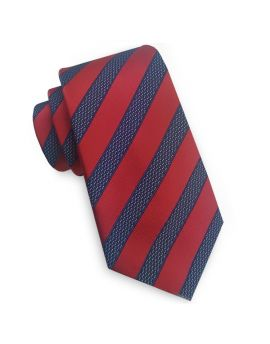 Red with Blue & White Stripes Slim Tie