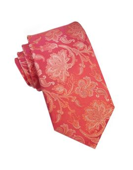 Red with Gold Oriental Floral Design Tie