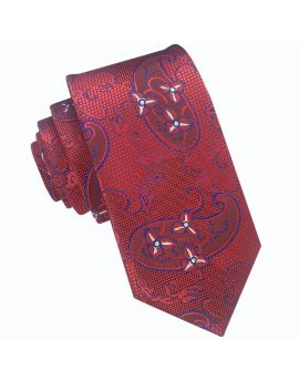 red with white and blue paisley tie
