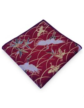 Red with White & Gold Herons Pocket Square