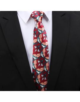 red with white and coral geometric floral tie