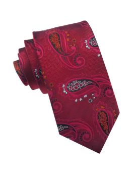 Red Zig Zag with Paisley Slim Tie