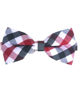 Red, Black and White Check Bow Tie