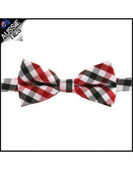 Boys Red, Black & White Check Bow Tie