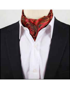 Men's Red, Black & Yellow Paisley Ascot Cravat