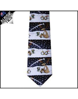 Dark Blue Reindeer Penguins Sports Christmas Tie