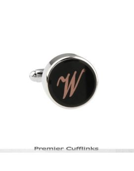 Single Black with Rose Gold Initial W Cufflink