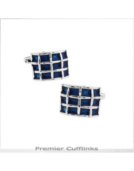 Rounded Azure Blue Quadrants Cufflinks