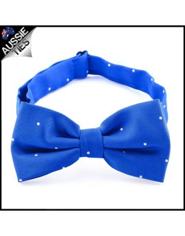 Royal Blue Pin Dot Mens Bow Tie